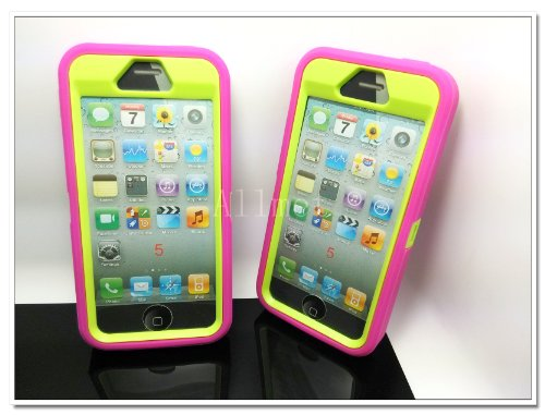 =>>  Multi Color Iphone 5 5S Body Armor Silicone Hybrid Cove Hard Case, Three Layer Silicone PC Case Cover for iPhone 5 5S (Hot Pink+Green)