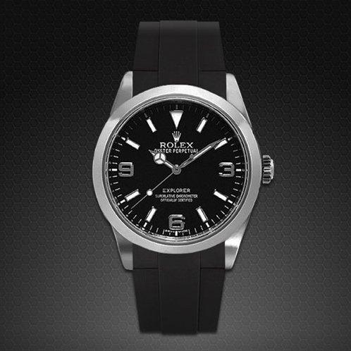 [ラバービー] RubberB ラバーベルト ROLEX エクスプローラーI(39mm/2010年以降モデル対応)専用ラバーベルト(尾錠付き)(ブラック) [並行輸入] ※ラバーベルトのみの販売。時計は付属致しません。(Watch is not attached. Belt only)