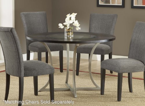 Buy Low Price Hillsdale Furniture Roma Round Dining Table with Wood Top with Glass Insert in Pewter – Hillsdale Furniture – 4250DTB (4250DTB)