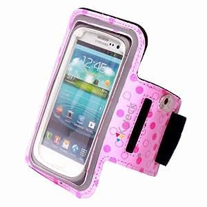 Kuteck® Sport Armband Dot Pink for Samsung Galaxy S4 / S3 OtterBox Defender / Commuter Series Cases, also fits OtterBox Defender & Commuter Series Cases for Motorola Droid Mini, Droid Razr HD / Razr Maxx HD, Droid Razr M, and Moto X