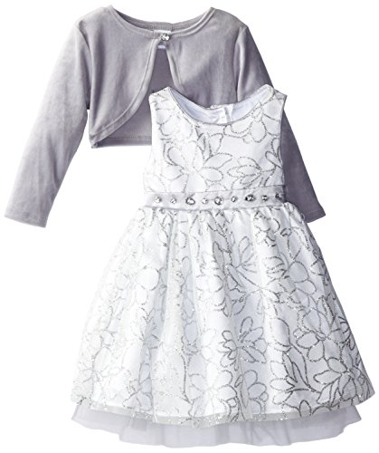 Youngland Little Girls' Flower Printed Occasion Dress With Shrug, Silver, 4T
