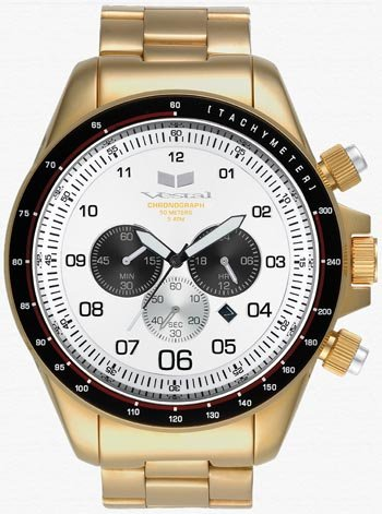 Vestal Men's ZR-3 Chronograph Gold-tone White Dial Watch