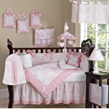 Pink and White French Toile Baby Girl Bedding 9pc Crib Set