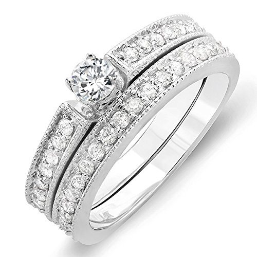 0.58 Carat Engagement Ring Sets Round Cut Diamond on 14K White gold