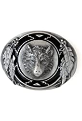 Pewter Belt Buckle - Wolf with Feathers (Diamond Cut)