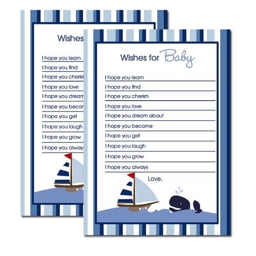 Ahoy Mate Whale Printed Wishes for Baby Advice Cards Fill-in (Set of 12) - 1