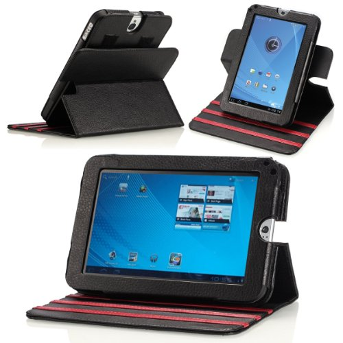MoKo(TM) Dual-View Multi-Angle GENUINE Leather Folio Case Cover for Toshiba Thrive 7-Inch (Full Color HD Multi-touch Display) Android Tablet, BLACK