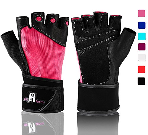 Weight Lifting Gloves With Wrist Wraps - Ideal Training Gloves - Premium Workout Gloves With Wrist Support - best Sport Gloves & Gym Gloves (Pink M)