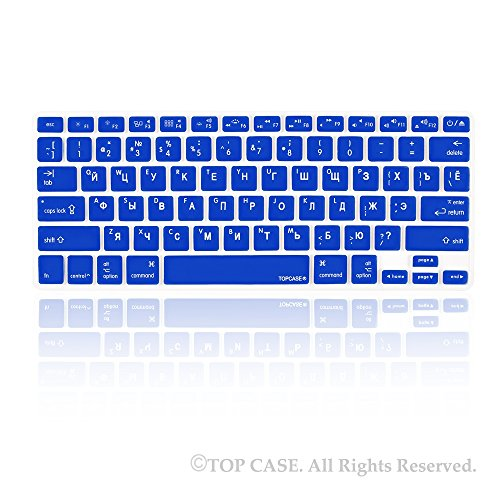 """Topcase Russian Letter Royal Blue Silicone Keyboard Cover Skin For Macbook 13"""" Unibody / Macbook Pro 13"""" 15"""" 17"""" With Or Without Retina Display / New Macbook Air 13"""" / Wireless Keyboard + Topcase Mouse Pad - Russian/English"""