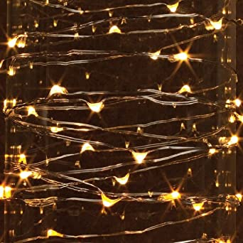 String Christmas Lights Together : Gerson 38651 - 9 36 Light Silver Wire Warm White Battery Operated Indoor LED Micro Miniature ...
