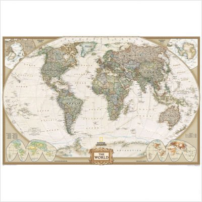 "World Executive Map - Antique Tones (Two Sizes and Spanish Available) Map Type: Basic Size Tubed (30""H x 46""W)"