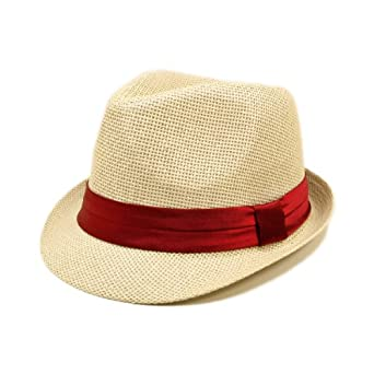 Classic Natural Fedora Straw Hat, Burgundy Band