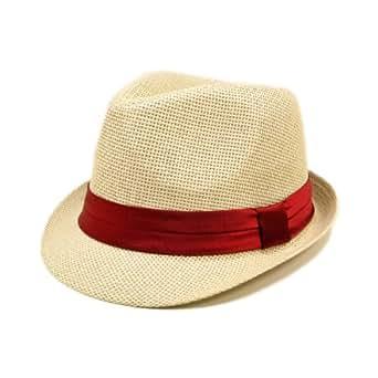 TrendsBlue Classic Natural Fedora Straw Hat, Burgundy Band
