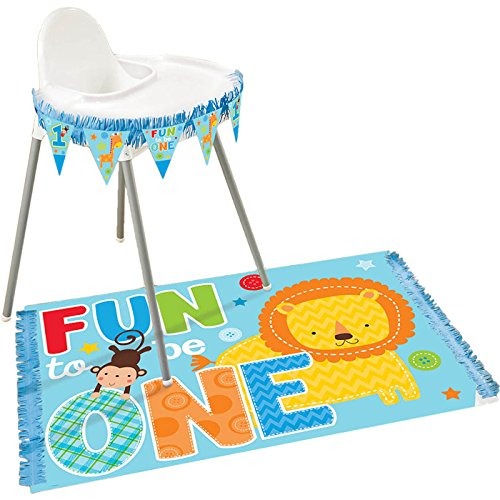 Amscan One Wild Boy 1st Birthday High Chair Decorating Kit, Large, Blue