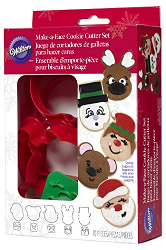 Wilton 10-Piece Christmas Make-a-Face Cookie Cutter Set