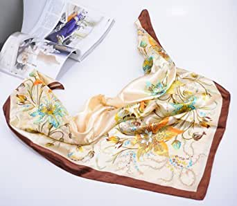 X&Y ANGEL Classic New Fashion Satin Silk Square Printed Design 33''X33''Flowers And Grass Big Scarf Clothing S042