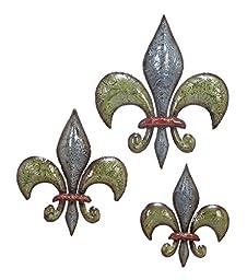 Deco 79 Metal Fleur De Lis, 15 by 12 by 10-Inch, Set of 3