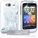 Neues Qualität Weiß Und Silber Schmetterling Blumen Muster Harte Rückseite Hybride Schutzhülle Für HTC Wildfire S Von Yousave