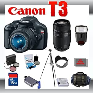 Canon EOS Rebel T3 EOS 1100D 12.2MP Digital Camera with Canon 18-55mm and Tamron AF 75-300mm f/4.0-5.6 LD for Canon Digital SLR Cameras + 16GB Memory Card + Digital Flash + SD Memory Card Reader + Li-Ion Replacement Battery Pack + Deluxe Cleaning Kit + Carrying Case + Tripod + LCD Protectors + Cleaning Cloth Deluxe Kit