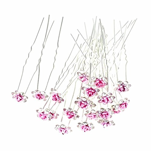 Happy Hours - 20Pcs Handmade U-Shaped Pearl Rose Flower Rhinestone Crystal Hair Pins Clips Barrette for Prom Party Wedding Bridal Bridesmaid Jewelry Accessories(Pink) (Small Crystal Hair Pin compare prices)