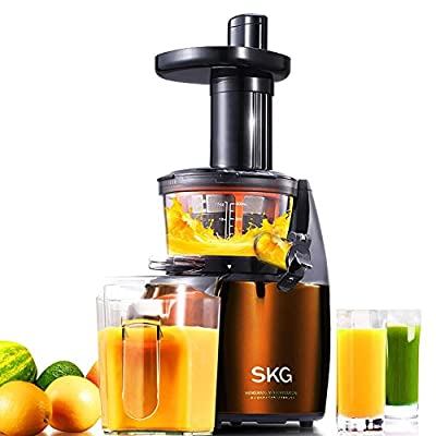 SKG Premium 2-in-1 Anti-Oxidation Slow Masticating Juicer & Multifunction Food Processor - Vertical Masticating Cold Press Juicer - Low Speed Single Auger Juicer (150W AC Motor, 65 RPMs) - Electric Food Slicer & Food Shredder Stainless Steel from Skg Elec