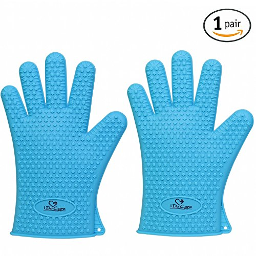 iDoCare Heat Resistant Silicone Gloves BBQ Grilling Gloves Oven Mitts - Most Flexible & Waterproof - Best For Cooking, Baking, Frying, Smoking, Potholder & Barbeque - For Men and Women - Blue (Oven Gloves Small compare prices)