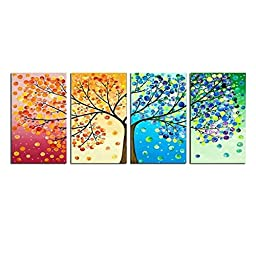 Grepova Art - Four Seasons Tree Painting Art Decoration 100% Hand Painted Oil Painting for Home on Wall Canvas for Living Room Decration