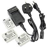 DSTE® (3-pack) LP-E8 Rechargeable Li-ion Battery + Charger DC99U for Canon EOS 550D, 600D, 650D, Kiss X4, Kiss X5, Kiss X6i, Rebel T2i, Rebel T3i, Rebel T4i