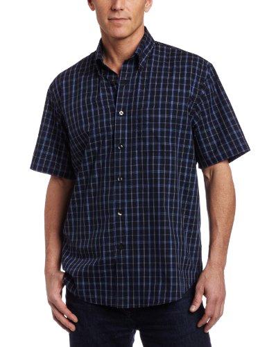Van heusen men 39 s no iron cvc wrinkle free windowpane shirt for No iron shirts mens
