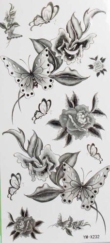schwarze blumen und schmetterling tempor re tattoos. Black Bedroom Furniture Sets. Home Design Ideas