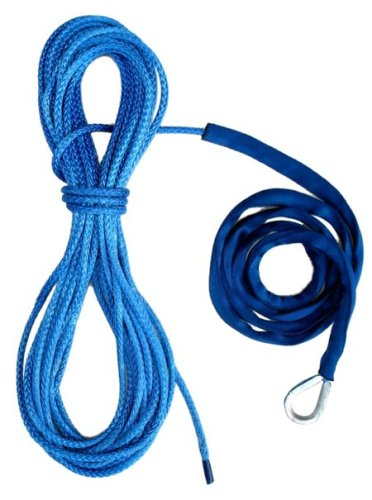 Fantastic Deal! 50' 3/16 Amsteel Blue Winch Cable with 5' Chafe Guard