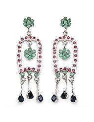 Johareez 12.60 Grams Genuine Emerald, Ruby & Blue Sapphire Rhodium Plated Brass Dangle & Drop Earring For Women