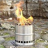 Lixada ポータブル ステンレススチール製 軽量 薪ストーブ ソリッドアルコールストーブ アウトドアクッキング、ピクニック、バー ベキュー、キャンプに適用