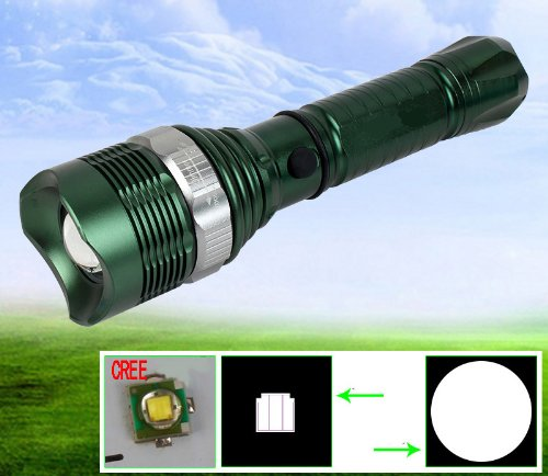 Super Bright 400 Lumen Cree Q5 Rechargable Led Zoomable Adjustable Focus Flashlight Torch With Battery And Professional Charger, Water Resistence Design Led Flashlight High Bright