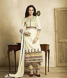 V-Kart Women's Cotton Unstitched Dress Material (Vkart_394_Cream_Free Size)