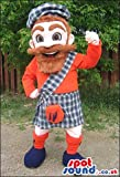 Human SPOTSOUND US Mascot Costume With A Red Beard And Scottish Garments