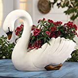 """Exclusive White Swan Cast Resin Flower Planter - 20"""" X 14"""""""