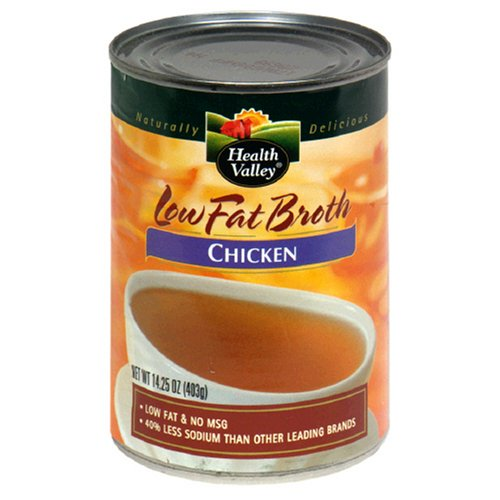 Health Valley Low Fat Broth Chicken No Salt Added, 14.25 Ounce Cans (Pack of 12)