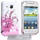 Samsung Galaxy Young Tasche Rosa / Weiß Silikon Gel Blumen Biene Hülle