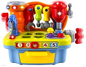 WolVol Wol Vol Musical Learning Workbench Toy With Tools, Engineering Sound Effects And Lights, And Shape Sorter