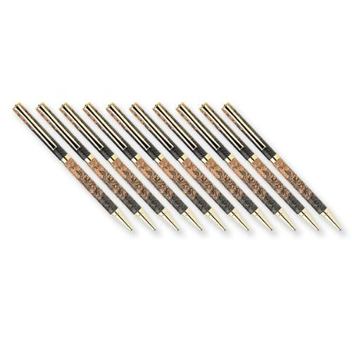 Woodturning Project Kit for Slim Style Cobalt Gold Solid Clip Ballpoint Pen Kit - 10-Pack
