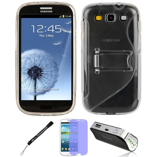 Clear Tpu Skin With Stand For Samsung Galaxy S Iii 3 + Battery Power Bank Charger + Screen Protector + Determination Hand Strap