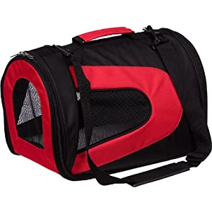 Pet Life Airline Approved Folding Zippered Collapsible Sporty Mesh Pet Dog Carrier, Large, Red
