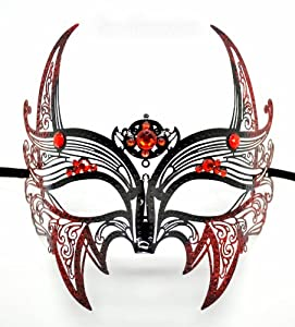 Wolverine Men's Mask Laser Cut Venetian Halloween Masquerade Mask Costume Extravagant Inspire Design - Black w/ Red Rhinestones & Glitter