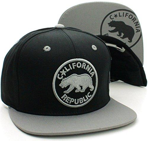 Absolute Snapback California Republic Flat Bill Bear Emblem Snapback Hat Cap Black Gray