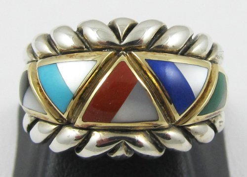 Asch Grossbardt SS/18K Gold Multi Color Inlaid Gemstone Ring