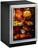 """Uline 24"""" Stainless Steel Glass Door Undercounter Refrigerator"""