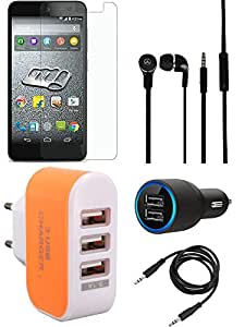NIROSHA Tempered Glass Screen Guard Car Charger Headphone Charger for Micromax Canvas Express 2 - Combo
