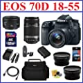 Canon EOS 70D DSLR Camera with 5 Lenses Professional Bundle: Includes - Canon EF-S 18-55mm STM IS Lens + Canon 55-250mm IS Lens + Canon 50mm 1.8 II Lens + Telephoto & Wide Angle Lenses + Spare Battery + Travel Charger + Camera Bag + Mini HDMI Cable + 32GB