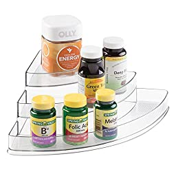 mDesign Storage Organizer for Vitamins, Supplements, Health Supplies - 3 Tier, Corner, Clear
